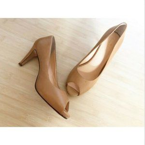 Cole Haan Heels 7 1/2 Open Peep Toe Pumps Nude Tan